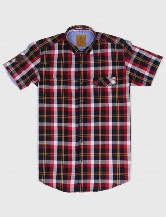 Gianti red and navy checks shirt