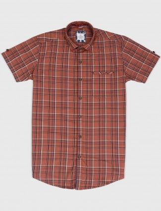 Gianti rust orange checks casual shirt