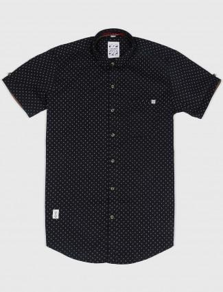 Gianti slim fit black hue printed shirt