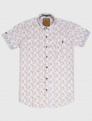 Gianti white printed cotton fabric shirt