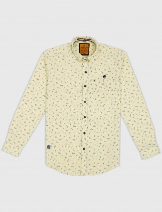 Gianti yellow printed casual shirt