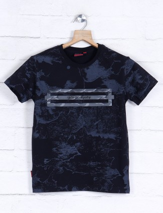 Gini and Jony black cotton printed t-shirt