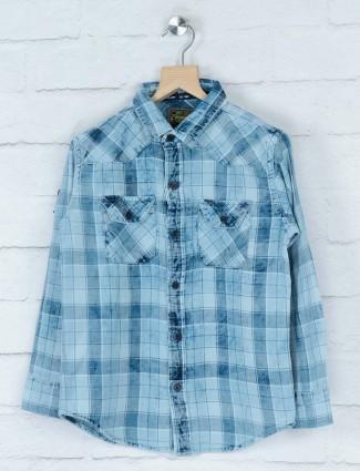Gini and Jony blue denim checks shirt
