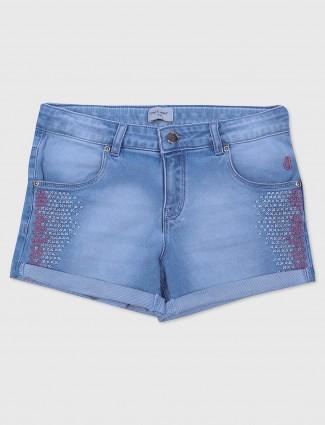 Gini and Jony blue hue casual denim girls shorts