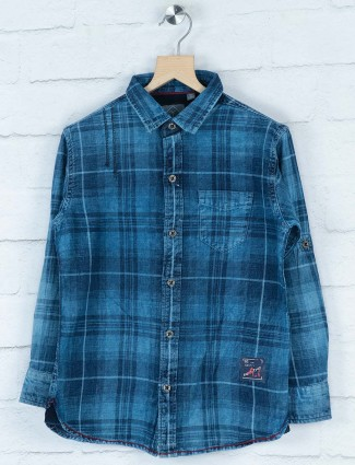 Gini and Jony blue tweed pattern shirt