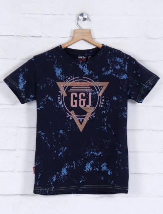 Gini and Jony boys printed navy t-shirt