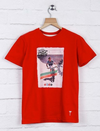 Gini and Jony cotton red hue t-shirt