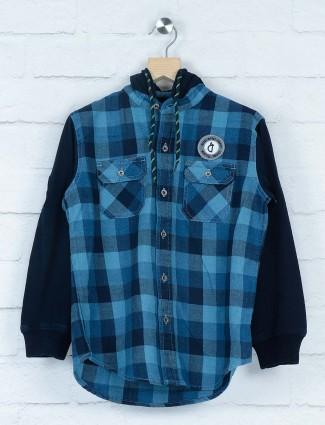 Gini and Jony dark blue checks cotton shirt