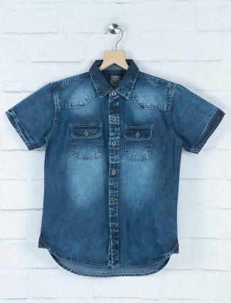 Gini and Jony denim blue solid shirt