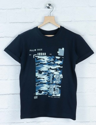 Gini and Jony navy colored printed t-shirt