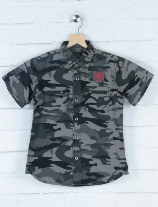 Gini and Jony olive camouflage printed shirt