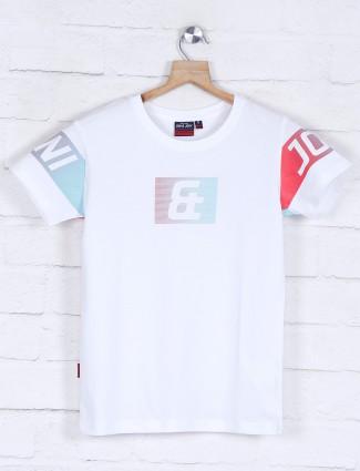 Gini and Jony printed round neck white t-shirt