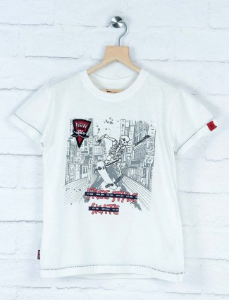 Gini and Jony printed white cotton t-shirt
