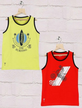 Gini and Jony red and yellow printed pack of 2 t-shirt