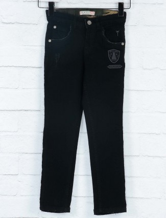 Gini and Jony solid black colored jeans