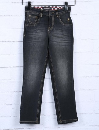 Gini and Jony solid black whiskers effect jeans