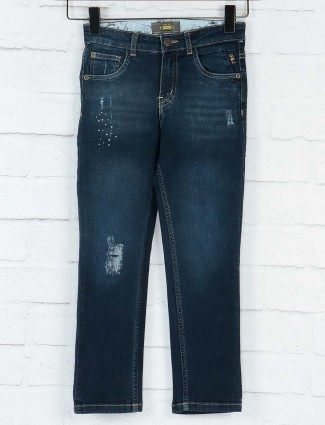 Gini and Jony solid navy color jeans