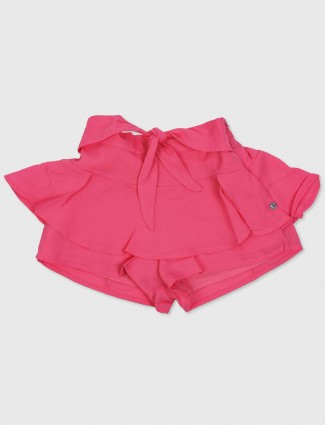 Gini and Jony solid pink cotton shorts for girls