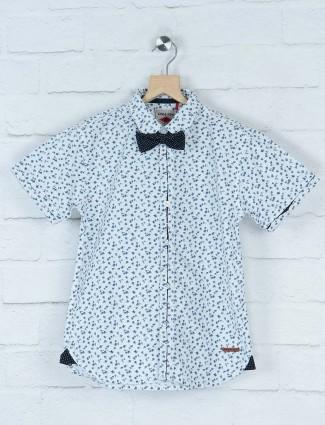 Gini and Jony white printed party shirt
