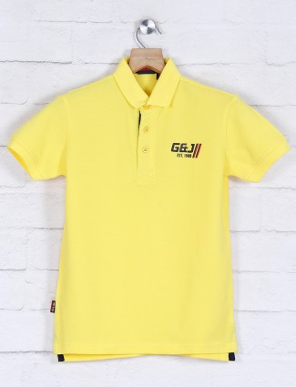 Gini and Jony yellow polo solid t-shirt