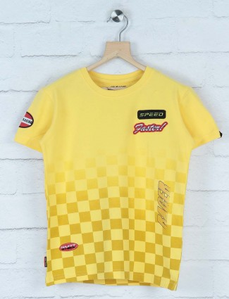 Gini and Jony yellow printed casual t-shirt