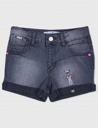 Gini and Jony grey hue denim casual shorts for girls
