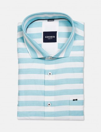 Ginneti aqua and white stripe shirt