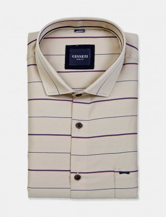 Ginneti beige stripe cotton shirt