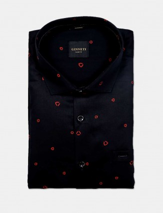 Ginneti black printed cotton party wear shirt