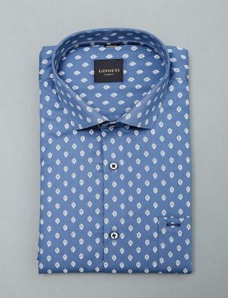 Ginneti blue printed cotton fabric shirt