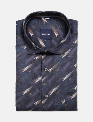 Ginneti blue printed formal wear shirt