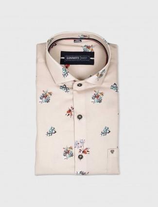 Ginneti cream printed cotton shirt