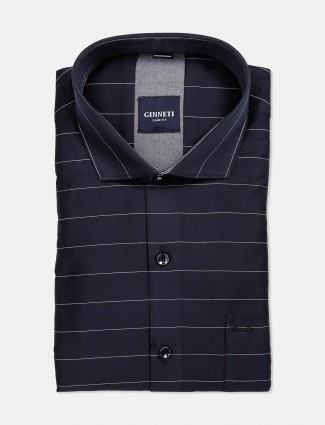 Ginneti cut away collar navy stripe shirt