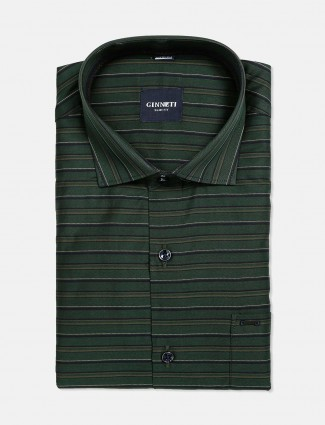 Ginneti dark green stripe shirt