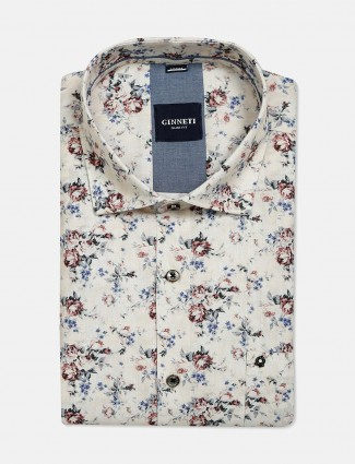 Ginneti flower printed cream cotton shirt