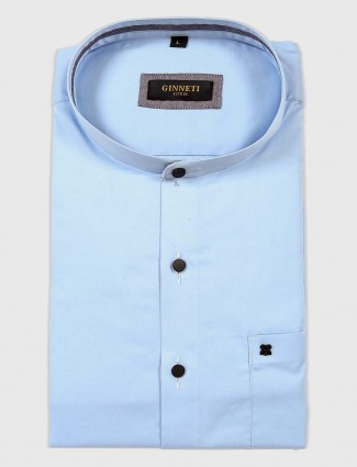 Ginneti formal light blue solid shirt