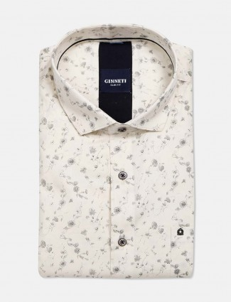 Ginneti full buttoned placket cream printed shirt