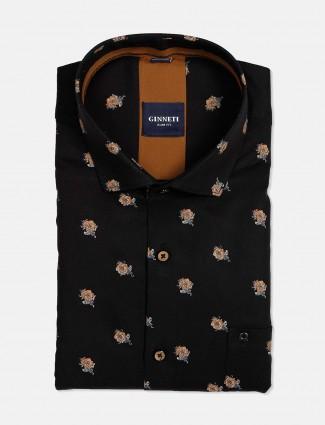 Ginneti full sleeves black printed cotton shirt