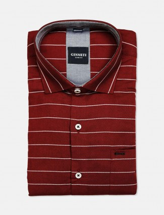 Ginneti full sleeves red stripe shirt