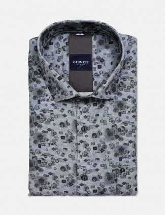 Ginneti grey cut away collar printed shirt
