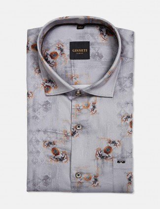 Ginneti grey printed cotton shirt