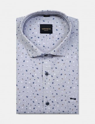 Ginneti grey printed cotton shirt for men