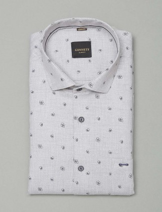 Ginneti grey printed party wear shirt