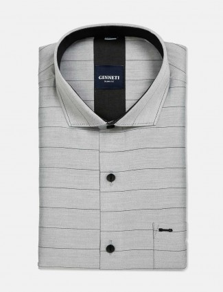 Ginneti grey stripe formal shirt