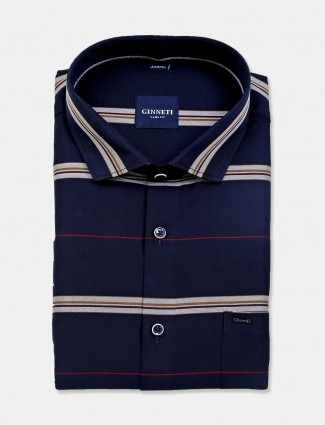 Ginneti navy stripe cotton mens shirt