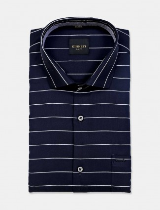 Ginneti navy stripe cotton shirt
