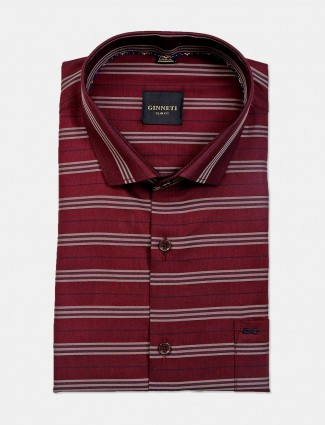 Ginneti patch pocket maroon stripe cotton shirt