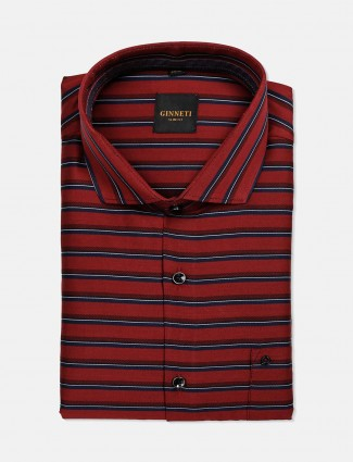 Ginneti patch pocket red stripe cotton shirt