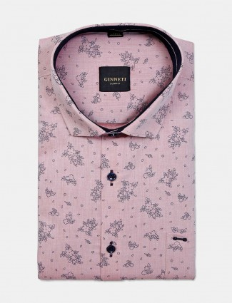 Ginneti pink cotton printed mens shirt