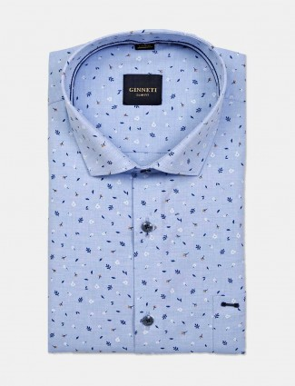 Ginneti printed blue cotton shirt for parties